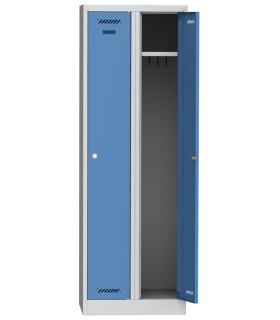 Šatní skříň kovová dvouoddílová BAS 32 1800 x 600 x 500, modrá - šedá
