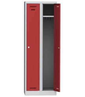 Šatní skříň kovová dvouoddílová BAS 323000 1800 x 600 x 500, červená - šedá
